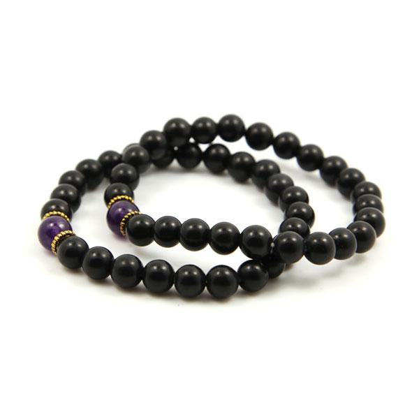 泗滨砭石紫水晶双排手链,砭石手链图1