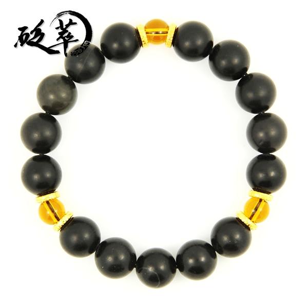 泗滨砭石13mm黄水晶手链图4