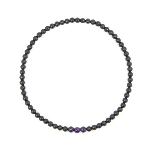 泗滨砭石紫水晶项链,砭石项链图2